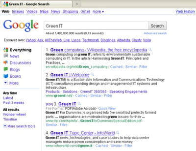 les quatre premiers résultats de google sur la requête green it.