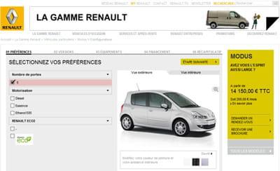 exemple du configurateur de renault.fr