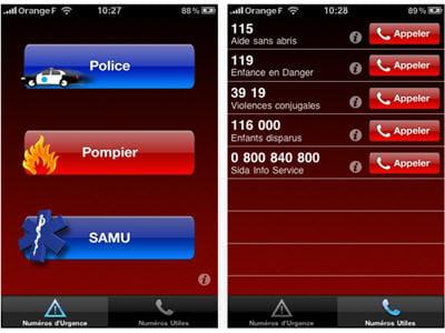 application répertoriant les numéros d'urgences