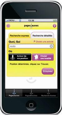page d'accueil de l'application iphone de pagesjaunes