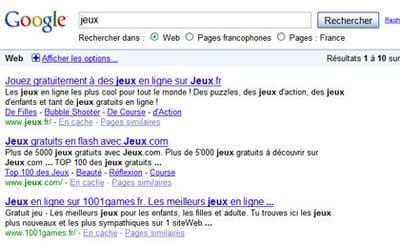 résultats de google pour la requête 'jeux'