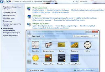 quelques gadgets disponibles de base : horloge, calendrier, météo...