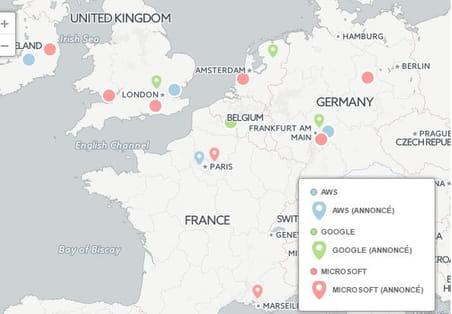 La carte d'Europe des géants américains du cloud