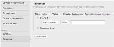 la configuration de la segmentation par séquence.