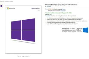Windows 10 sera aussi vendu surcléUSB