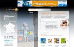 la page d'accueil du site tourisme.fr (en projet) dont le contenu devrait