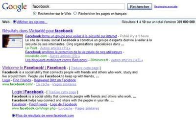résultats de google pour la requête 'facebook'