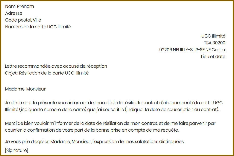 Lettre de résiliation UGC