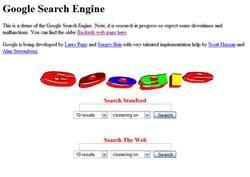 la première version de démonstration de google, issu du projet backrub.