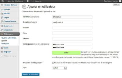 interface de gestion des droits utilisateurs sous wordpress.