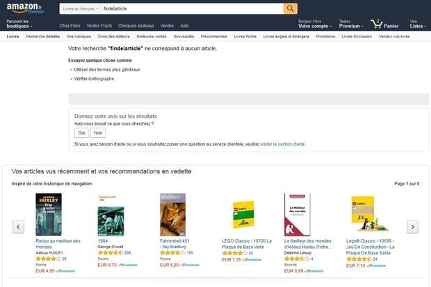 Amazon : toujours proposer un résultat