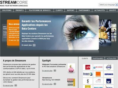 la page d'accueil de streamcore