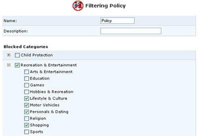 application de filtrage des pages web