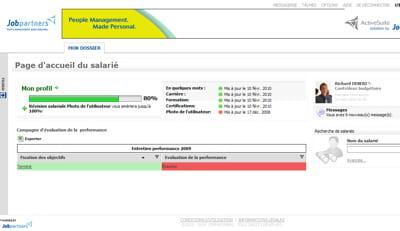la solution activecenterde jobpartners inclut un écran destiné au salarié, qui