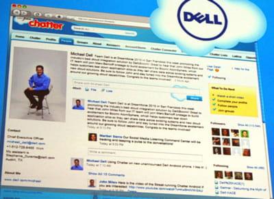 la page chatter de michael dell a été présentée à l'occasion de cloudforce paris