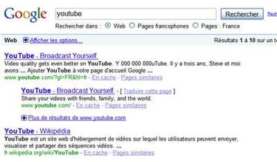 résultats de google pour la requête 'youtube'