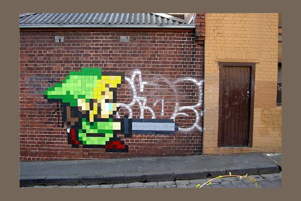 Zelda pixel art graffiti