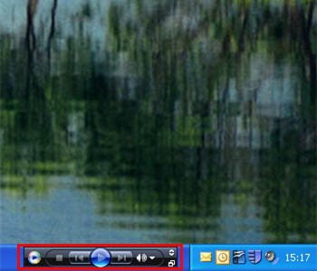 capture d'écran de la barre des tâches windows avec windows media player