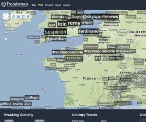 trendsmap localise les sujets chauds en temps réel sur un planisphère.