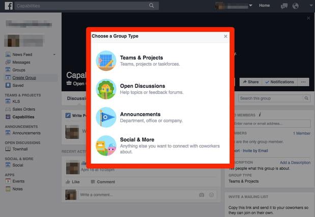 Facebook at Work permet de créer des groupes