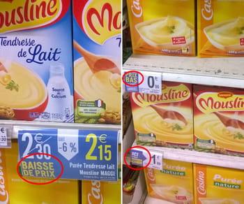 les étiquettes vantant des prix cassés fleurissent dans les rayons.