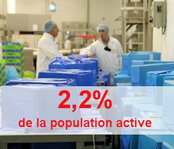le nombre d'emploi dans l'agroalimentaire est stable depuis 1970.