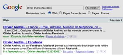 les profils publics facebook sont en effet indexés par google, mais pas les