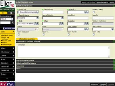 l'interface de suivi des actions commerciales dans l'outil cdc-pivotal.