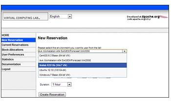 l'interface de vcl (pour virtual computing lab) est un portail web permettant de