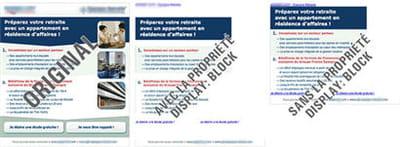 exemple de la propriété 'display' et de l'attribut 'block'