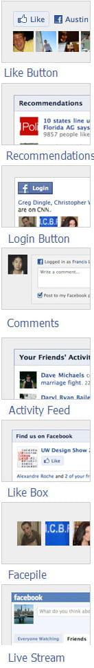 les différents plug-ins de facebook