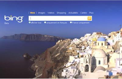 la page d'accueil du nouveau moteur de recherche de microsoft est aussi