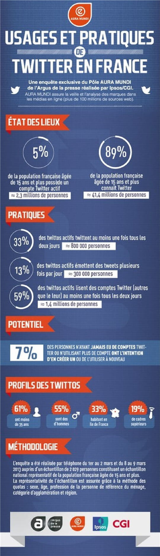 infographie usages et pratiques de twitter en france. Black Bedroom Furniture Sets. Home Design Ideas