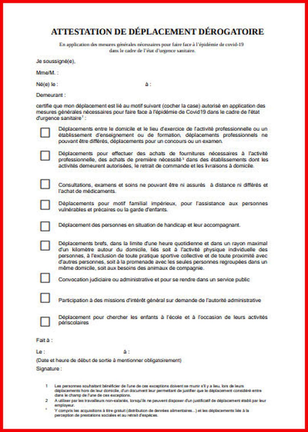Attestation De Deplacement Covid Telechargez L Attestation Couvre Feu
