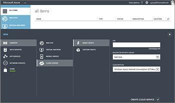 capture de l'interface azure cloud services.