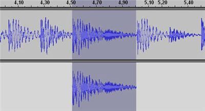 un fragment audio dupliqué parfaitement (ctrl+d) sur lequel on peu travailler