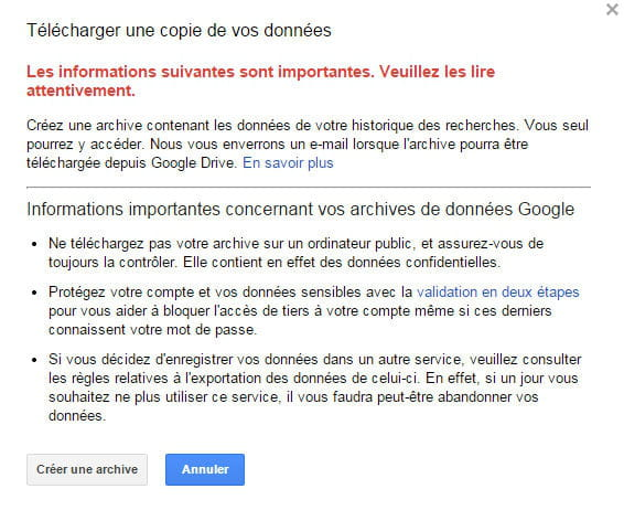 google message alerte
