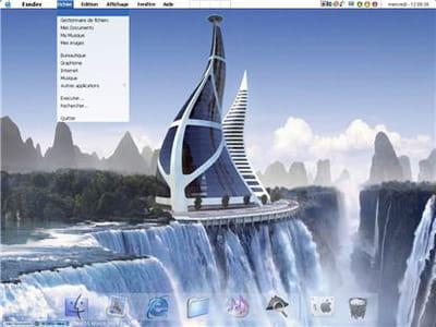 l'interface complète de mac os x sur pc ! on met bien sûr,le fond d'écran qu'on