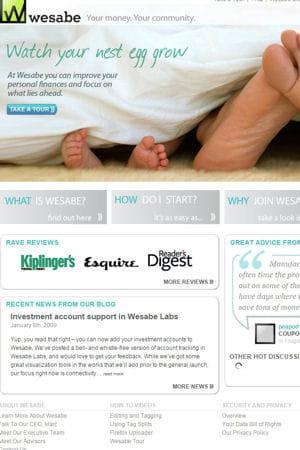 capture d'écran de l'ancien site de wesabe.