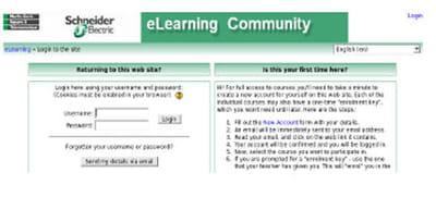 interface de connexion à l'application e-learning.