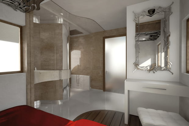 une salle de bain attenante. Black Bedroom Furniture Sets. Home Design Ideas