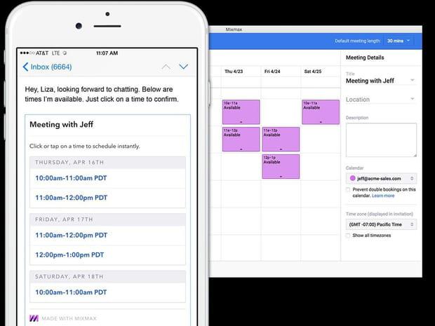 Mixmax permet de créer des templates et des sondages en un clic et vous aide à planifier des réunions très facilement