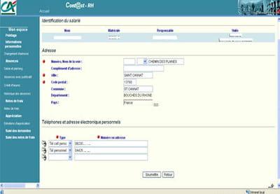 l'accès à la gestion de son espace personnel dans le portail sirh du crédit