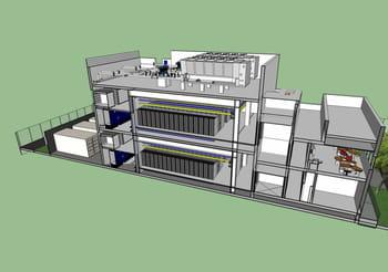 plan en 3d du futur data center de choreus datacenters, qui met en œuvre une