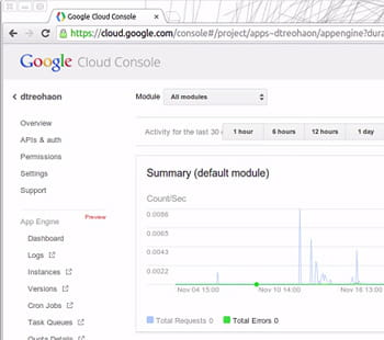 capture de la console du cloud de google.