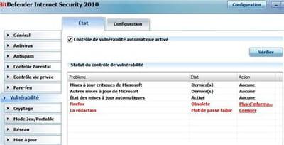 le détecteur de vulnérabilité sur notre pc de test : windows est à jour, mais