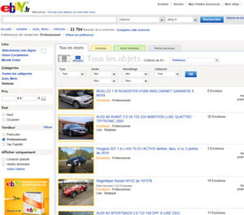les annonces de la rubrique automobile du site ebay.