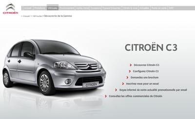 exemple d'une page d'accueil produit sur citroen.fr
