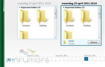 copie d'écran de la fonction history vault sous windows 8 pré-béta