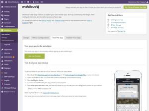 mobiloud intègre un simulateur d'affichage pour tester son application sur